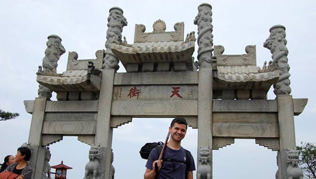 Brady 2015, Connor Tatooles near the summit of Mt. Tai in the Shandong province of China