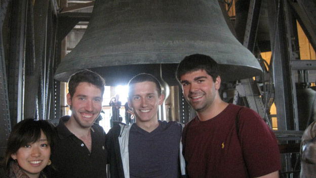 John Secaras, Brady '14 with two fellow Northwestern students and one  who joined the program from Japan. They climbed to the top of the bell  tower of the historic Cologne Cathedral in Germany