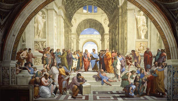 Great thinkers from classical antiquity gather, share ideas and learn from one another.